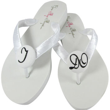 Black & White Wedding Flip Flops for the Bride Sandals
