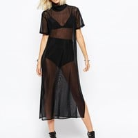 Religion High Neck Tunic Dress In Sheer Fabric at asos.com