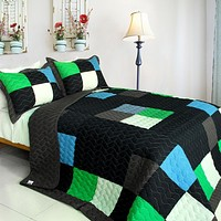 [Fatal Attraction-2] Vermicelli-Quilted Patchwork Plaid Quilt Set Twin