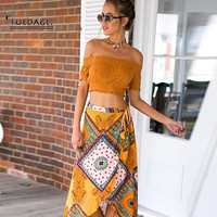 Fuedage 2017summer beach maxi skirt Boho style floral print long skirts womens bottoms Elastic vintage chic sexy skirt