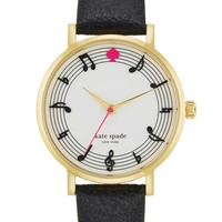 Women's kate spade new york 'metro - music note' leather strap watch, 34mm - Black/ Gold