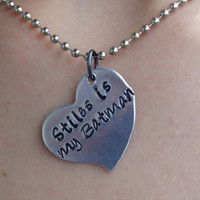 Stiles is my batman hand stamped heart necklace inspired by Stiles Stilinski of Teen Wolf