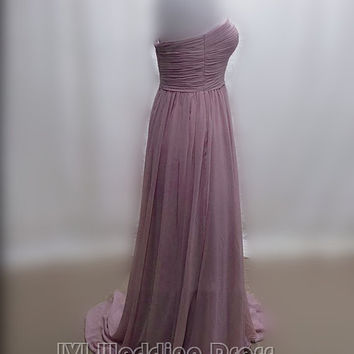 Real Samples Long Chiffon Bridesmaid Dress, Sweetheart Evening Dress, Prom Dress with Beadings