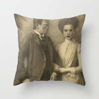Mr. and Mrs. Frankenstein  Throw Pillow by Terry Fan