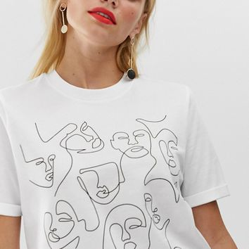 Pieces abstract face print tee at asos.com