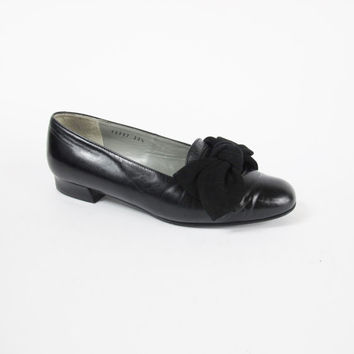 90s Black Leather Ballet Flats Black Bow Flats Classic Preppy Loafer Flats Slip On Shoes Womens Vintage Low Heel Ballerina Shoes Size 6
