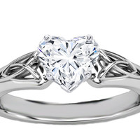 Engagement Ring - Heart Diamond Triquetra Celtic Engagement Ring in 14K White Gold - ES835HSWG