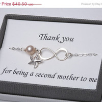 Holiday sale Mother in law,Godmother,Mother infinity love bracelet,Grandma,Mother jewelry,Mother of groom,Greeting card
