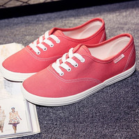 Fashion women Sneakers shoes trend women's candy color canvas shoes lacing low breathable casual shoes = 1958472452