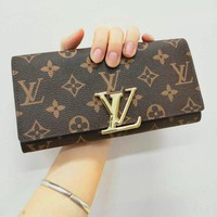 LV Louis Vuitton Classic Fashion Women Leather Buckle Wallet Purse