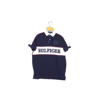 TOMMY HILFIGER POLO shirt / embroidered logo / red white & blue / athletic / mens small