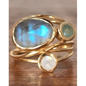Dayane Ring * Labradorite, Moonstone and Aqua Chalcedony * Gold Plated 18k * BJR100