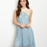 * BLUE CREAM LACE DRESS