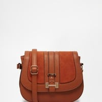 New Look 70'S Suedette Panel Saddle Bag at asos.com