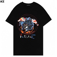 Versace classic personality colorful geometric Medusa pattern T-shirt fashion men and women round neck short-sleeved tops