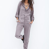 FOREVER 21 Utility-Inspired Jumpsuit Grey Medium