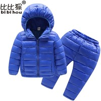 Bibihou Winter Kids Clothing Sets Warm Duck Down Jackets Clothing Sets Baby Girls & Baby Boys Down Coats Set With Pants 2PCS