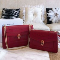 Bvlgari 2019 new python head female chain bag shoulder bag Messenger bag red