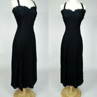 1990s black rayon dress, eyelet long maxi sleeveless floral cut and embroidered spring summer beach dress, Large