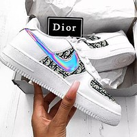 Wearwinds Nike Air Force 1 x Dior Man Women Print More Sneakers Women Men Trending Shoes White+Black