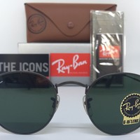 AUTHENTIC RAY-BAN ROUND METAL RB3447 029 50MM G-15 GUNMETAL FRAME SUNGLASSES