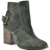 Sbicca Lorenza Forest Green Suede Heeled Booties