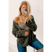 Loved By You Open Front Cardigan (Olive)