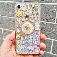 Cartoon Glitter Quicksand Sailor Moon Cover Shell For iPhone 6/6S plus 7 7plus Cute