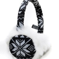 Snowflake Print Fluffy Faux Fur Trim Polyester Ear Warmers