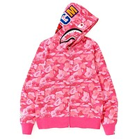 BAPE tide brand shark head zipper hooded sweater Pink