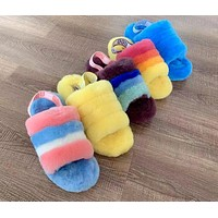 Bunchsun UGG Tide brand female models personality wild plush slippers shoes