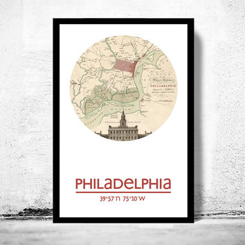PHILADELPHIA - city poster - city map poster print