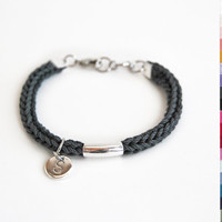 Initial bracelet, personalized knit bracelet with tube, silver plated initial bracelet, gift for her