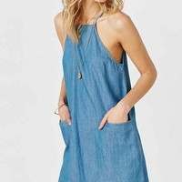 BDG High-Neck Chambray Shift Dress