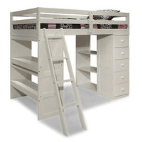 Canwood Skyway Twin Loft Bed with Desk & Storage Tower - White