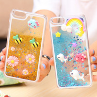 6S 6Plus Capa Cute Liquid Glitter Quicksand Star Case For Apple iphone 6 6S 4.7 Plus 5.5 Bee Crystal Clear Cellphone Back Cover