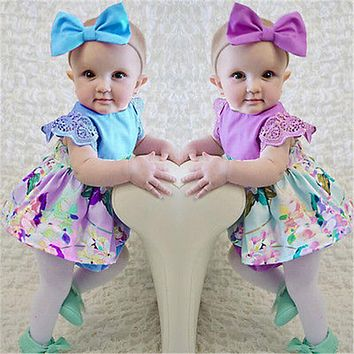 Lovely Newborn Baby Girls Dresses Clothes Petal sleeve Bodysuit Floral Dress+Bow Headband Purple Blue Twins Sisters Clothing