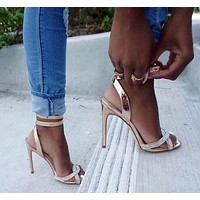 woman shoes summer hot style rhinestone champagne gold stiletto high heel Roman sandals women