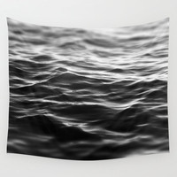 Black Waters - Wall Tapestry, Ocean Nautical Sea Waves Hanging, Beach Surf Decor Decorative Interior Throw Cover. In 51x60 / 68x80 88x104