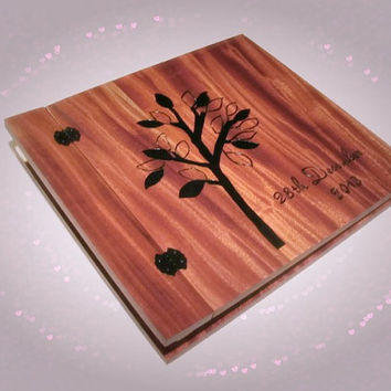 "Wooden Album Photo Scrapbook  Wood Burnt  12"" x 12"" - With Date"