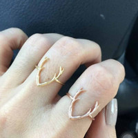 Metal-plated Deer Antler Ring