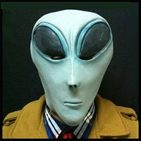 Blue UFO Alien Full Head Latex Mask ET Costume Party Cosplay Costume