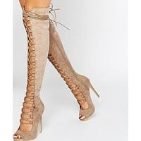 GLADIATOR PUMP LACE-UP OVER-THE-KNEE BOOT