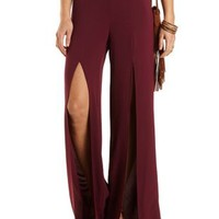Slit Front High-Waisted Palazzo Pants by Charlotte Russe