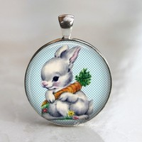 Adorable easter retro rabbit carrot blue glass necklace or keychain