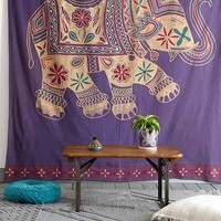 Magical Thinking Printed Elephant Tapestry- Purple One