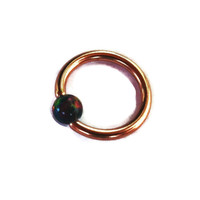 BCR,Rose Gold Captive Black Fire Opal Bead Septum,Upper Ear Daith Rook,Tragus,Cartilage,Helix,Hoop Earring,Nose Ring,Eyebrow Piercing