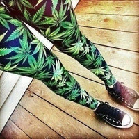 Sexy Green Marijuana Printed Leaves Leggings High Quality Strong Elasticity