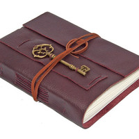 Burgundy Leather Journal with Key Bookmark
