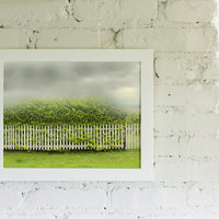 Photography Landscape Chartreuse Storm Clouds Storm and Picket Fence 11x14 Modern Landscape